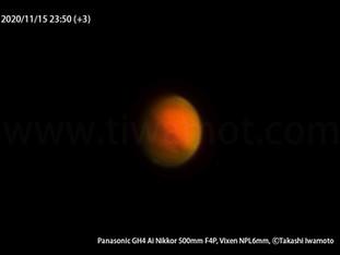 火星、ゴーヨン(500mmf4望遠レンズ)での惑星撮影、準大接近から40日後の姿
