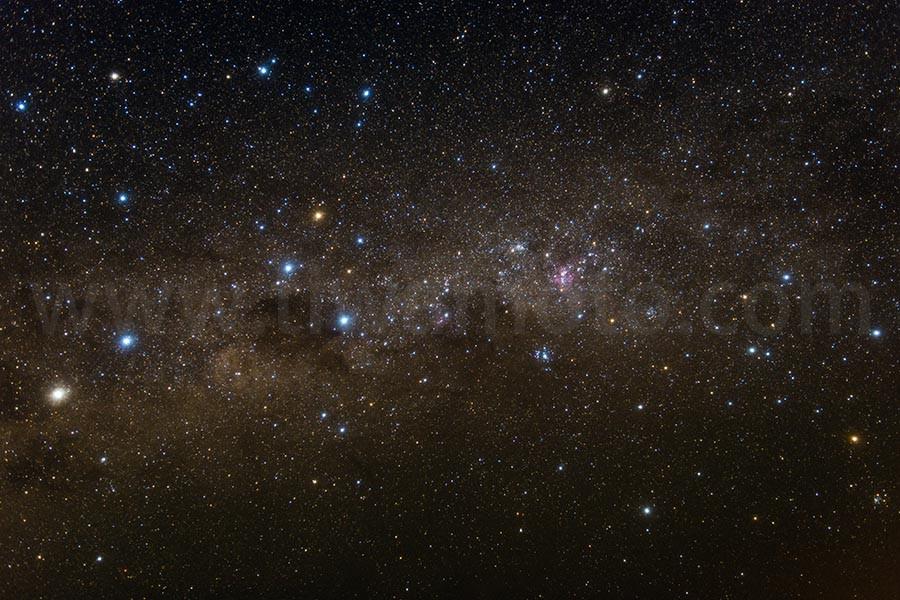 南天の星空、南十字星周辺、Softon Spec(B)フィルター使用