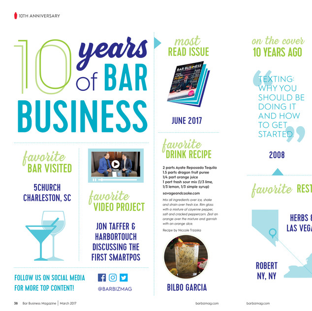Bar Business 10th Anniversary Spread