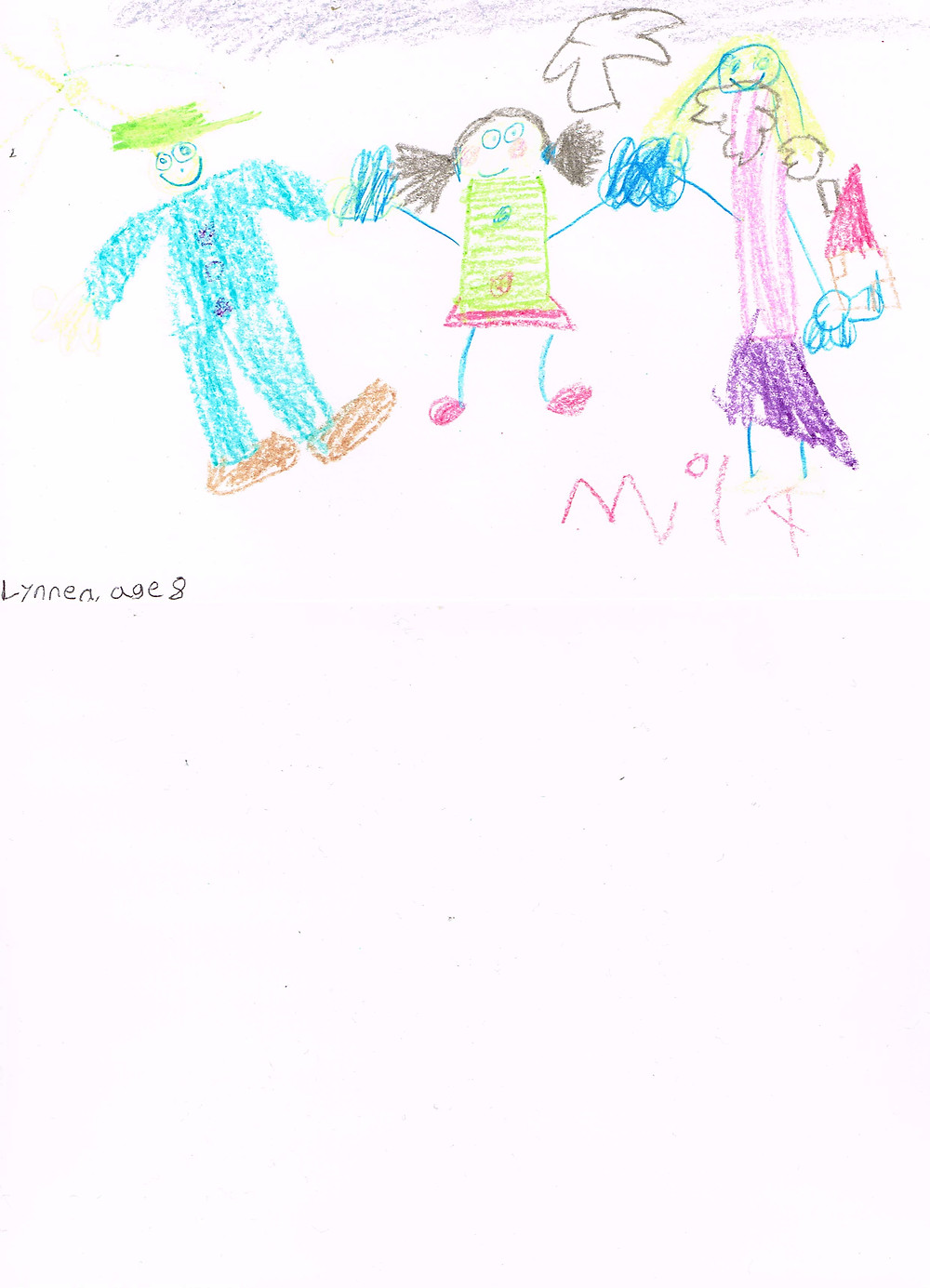 My daughter's drawing of Mila & her parents