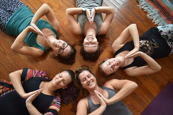 yoga teacher training students in the Barefoot yoga Studio classroom.