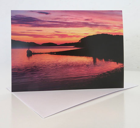 'Dusk over Shieldaig Pontoon' A6 Greeting Card