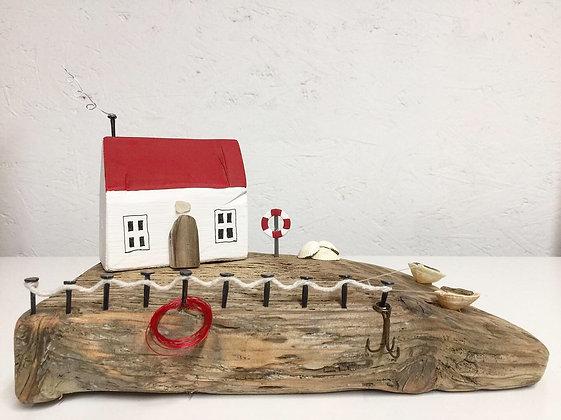 'Fisherman's Cottage'- Handmade Driftwood House
