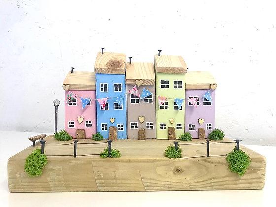 Bunting Row - Handmade Driftwood Houses