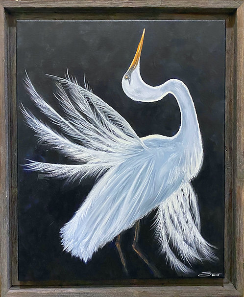 """EGRET"" -Original 16""by 20"" with frame"