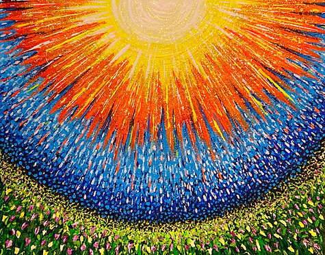 """SUN SHOWER""-Original 16""by 20"" Acrylic and Glitter"
