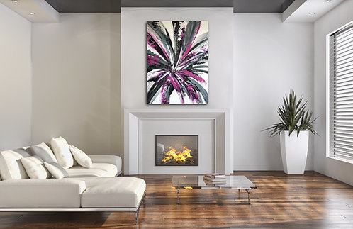 """""""PURPLE JOY"""" - 36""""by 48"""" Embellished Stretched Canvas Giclee Print"""