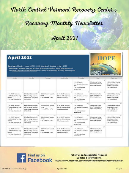 April 2021 Recovery Monthly: Thank You VSECU, Gentle Flow Yoga, & More!