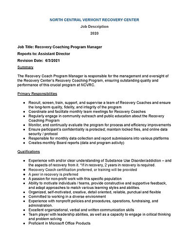 NCVRC Recovery Coaching Program Manager