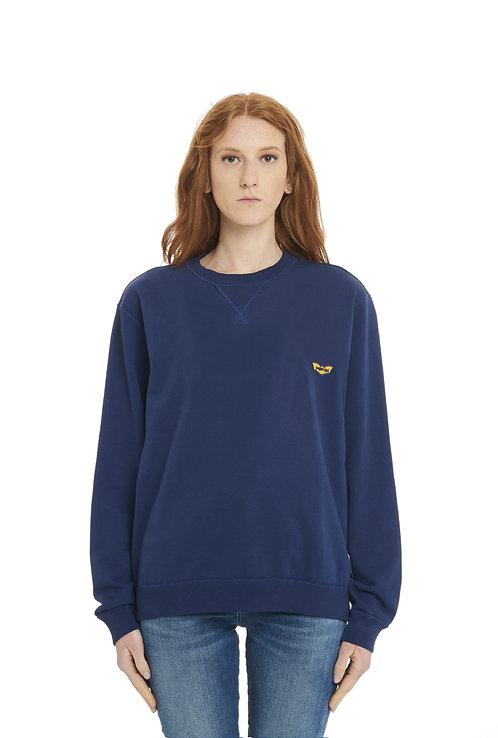 Basic POP84 woman blue sweatshirt crewneck over fit