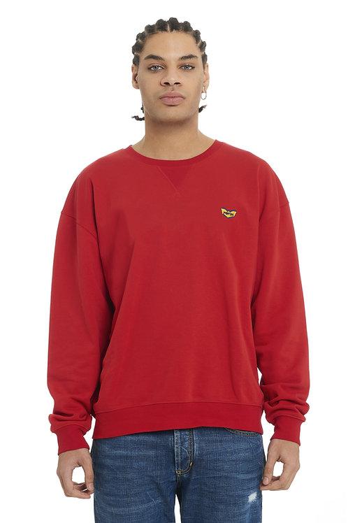 Basic POP84 man red sweatshirt crewneck slim fit