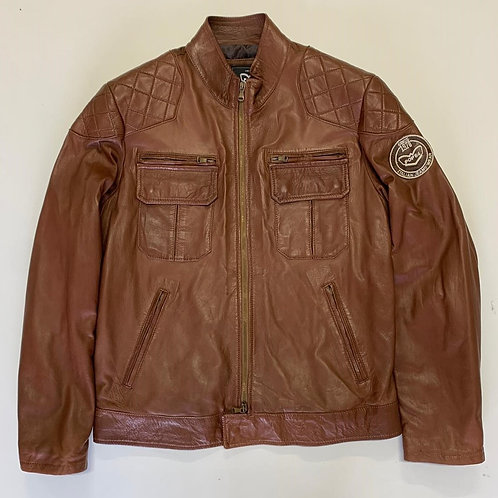 POP84 man jacket in brown leather