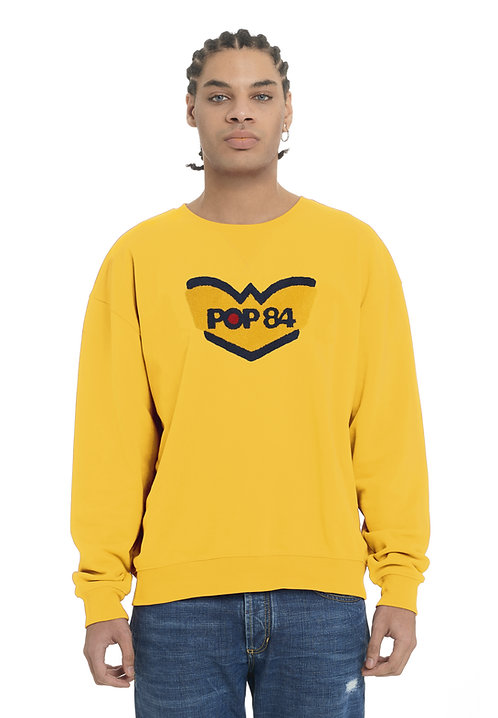 LOGO POP84 man yellow sweatshirt crewneck slim fit