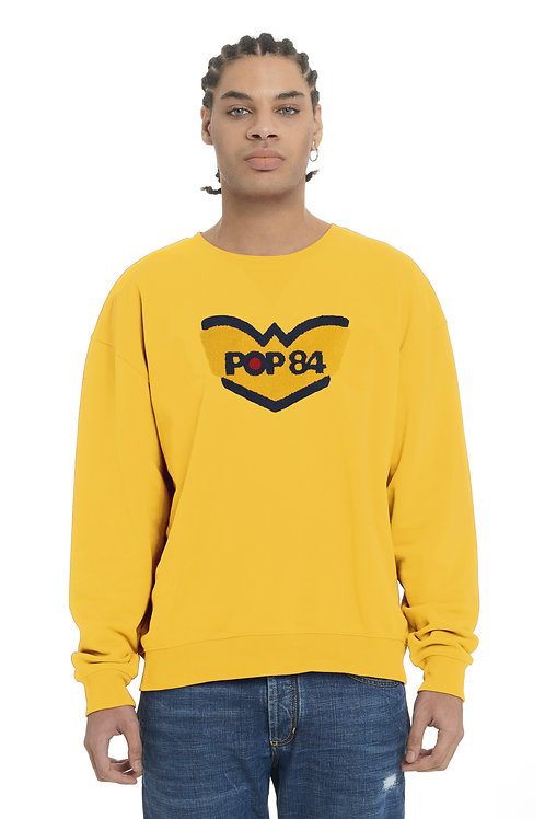 LOGO POP84 man yellow sweatshirt crewneck slim fit