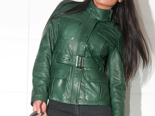 POP84 woman trench in genuine leather