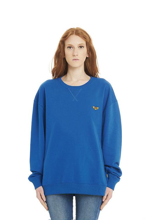 Basic POP84 woman blue jeans sweatshirt crewneck over fit