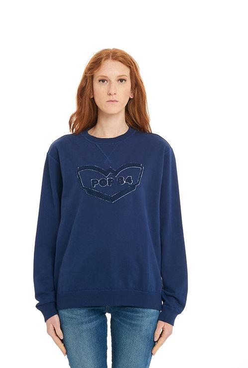 POP84 tone on tone woman blue sweatshirt over fit
