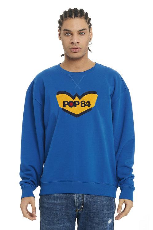 LOGO POP84 man blue jeans sweatshirt crewneck slim fit