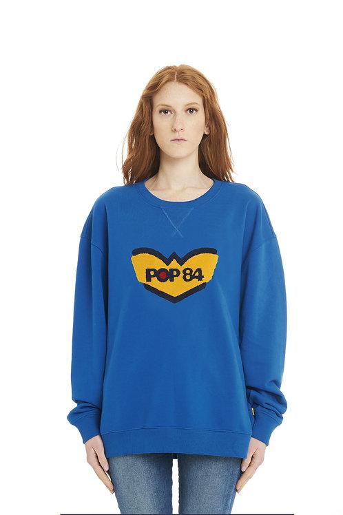 LOGO POP84 woman blue jeans sweatshirt crewneck over fit
