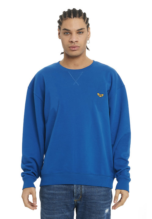 Basic POP84 man blue jeans sweatshirt crewneck slim fit