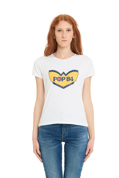 POP84 LOGO woman white t-shirt slim fit