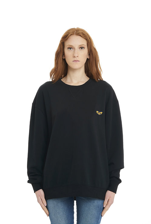 Basic POP84 woman black sweatshirt crewneck over fit