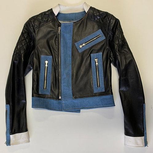 POP84 woman jacket in denim & leather
