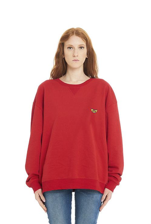 Basic POP84 woman red sweatshirt crewneck over fit