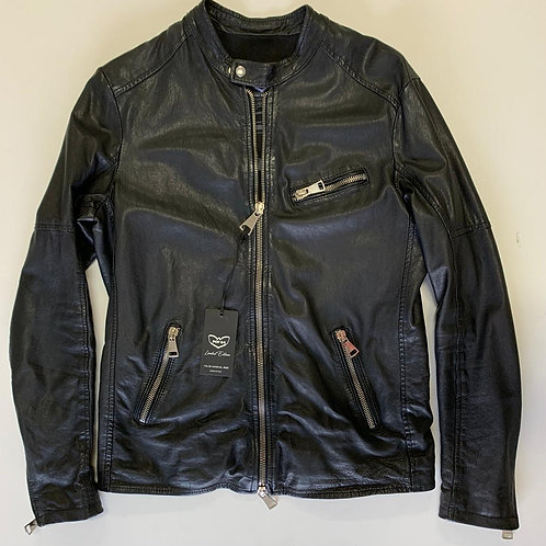 POP84 man jacket in black washed leather