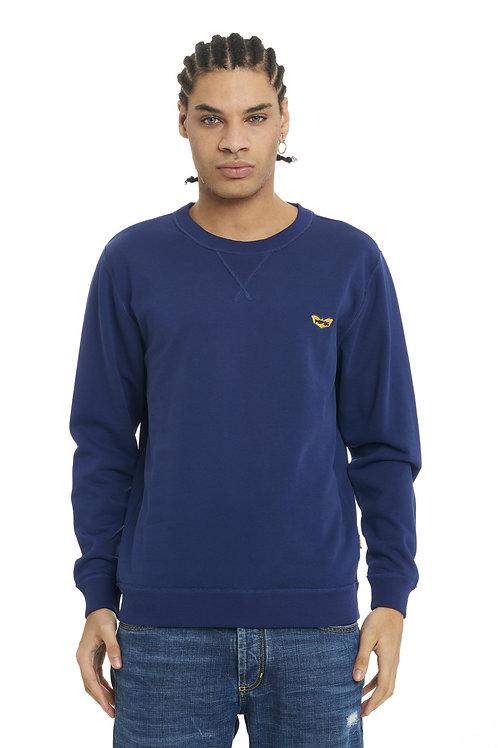 Basic POP84 blue sweatshirt crewneck slim fit