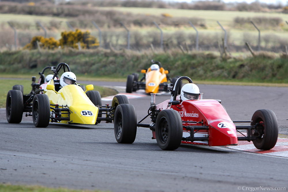 Des attacking the kerbs at Kirkistown earlier this year