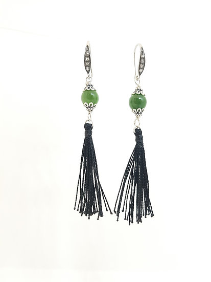 jade tassel earrings