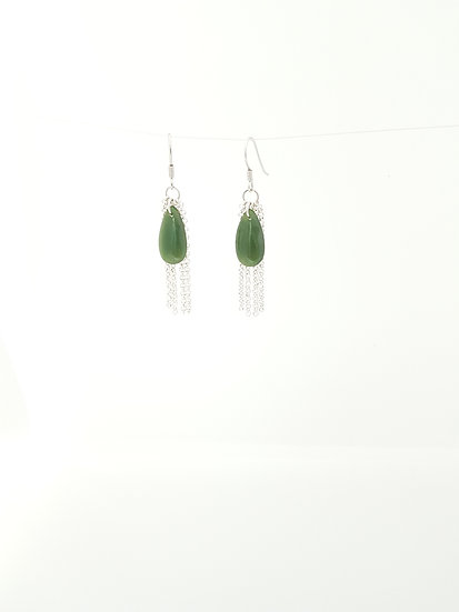Jade drop earrings with silver curtain