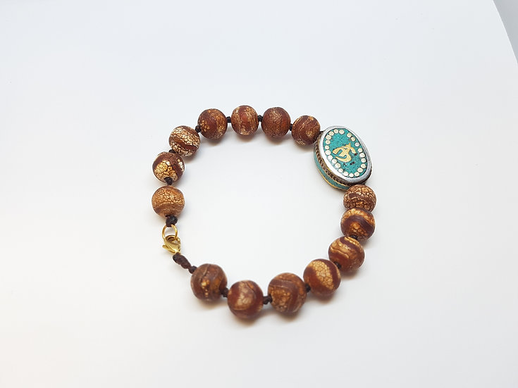 brown beads and Turquoise OM bracelet
