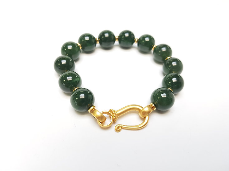 12mm Jade and Gold