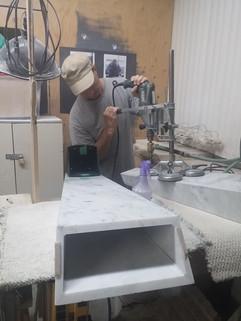 4 - Italian Marble Table - Repairing bas
