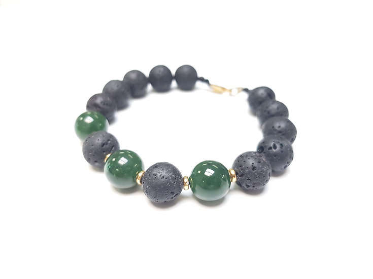 12mm Jade & Lava beads
