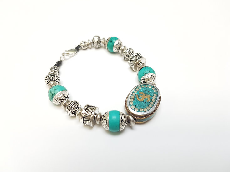 Silver bead, Om bracelet with Turquoise