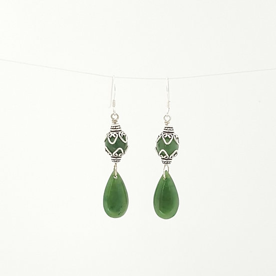 Double drop earrings. Jade and Silver