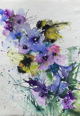Honey bees and Lavender - SOLD