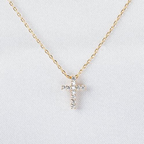 Petite Pavé Cross in Gold