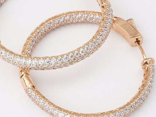 Yellow Gold Finish Pave Eternity Hoops