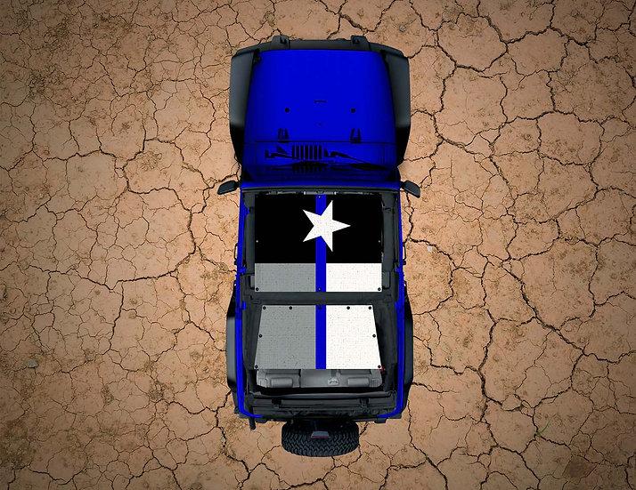 Mojo Jeep- Texas Flag Thin Blue Line Subdued YJ Shade