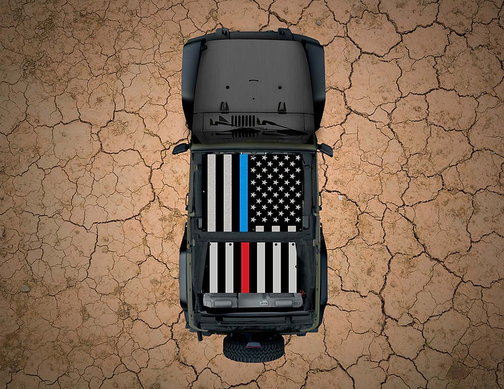 Mojo Jeep- USA Flag - Combo Thin Red & Blue Line YJ Shade