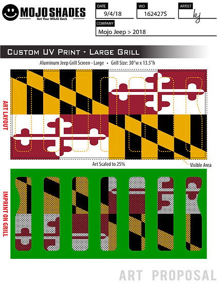 Mojo Jeep Grill Insert-Maryland Flag