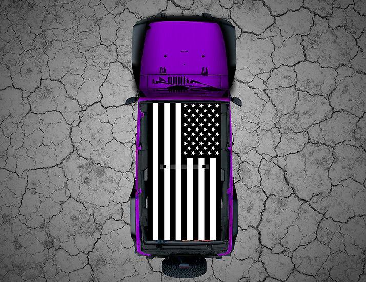 Mojo Jeep - Black & White US Flag Thin Blue/Red Line