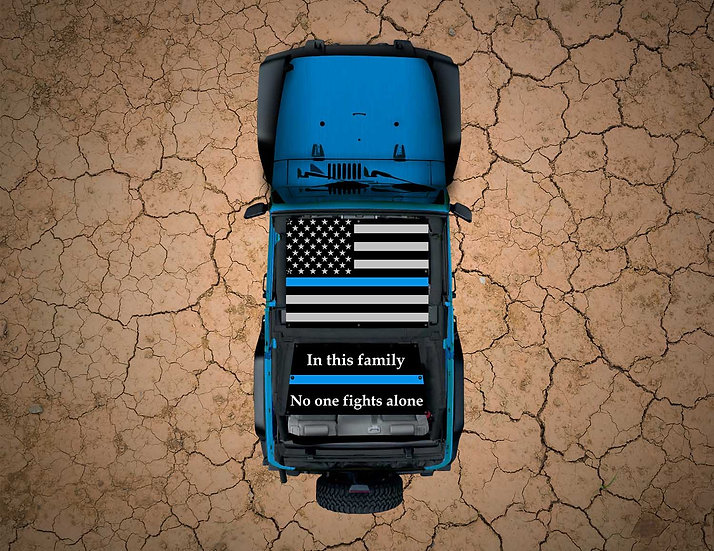Mojo Jeep- USA Thin Blue Line YJ Shade