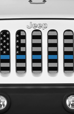 Mojo Jeep Grill Insert-American Flag Thin Blue Line