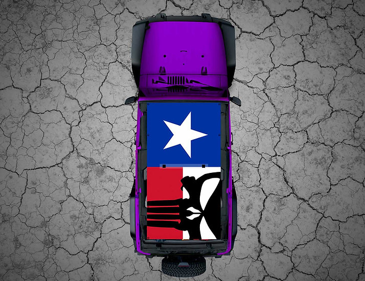 Mojo Jeep - Texas with Black Punisher Flag
