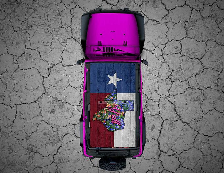 Mojo Jeep -  Wood Y'all! Texas Flag